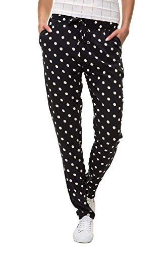 Hailys Damen Sommerhose Freizeithose Strandhose Print (M, Black/Dots)