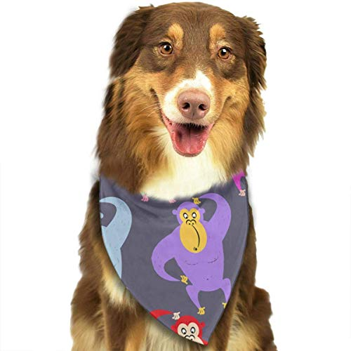 Rghkjlp Dogs Bandana Collars Rainbow Monkeys Pets Triangle Neckerchief Puppy Bibs Scarfs Cats Scarfs ()