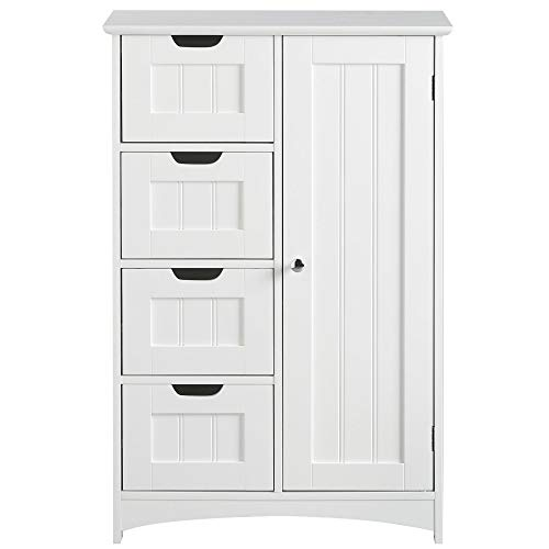 VonHaus 4 Drawer Storage Unit - White Colonial Style for the Bedroom or Bathroom Furniture Img 4 Zoom
