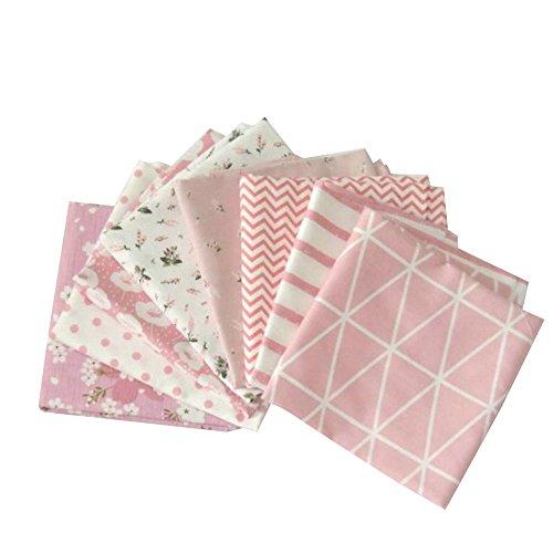 Souarts 8 Stück Stoffpakete DIY Kleine Blume Muster Baumwolltuch Patchwork Stoffe Paket Stoffset 50x50cm Rosa (Rosa)
