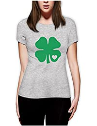 Green Clover Heart Saint ST. Patrick's Day Irish Shamrock For Women Fitted Top T-Shirt