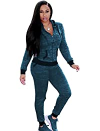 YOUJIA Femmes Sweatshirt Shirt avec Capuche + Jogging Pantalon Survêtement  Ensemble de Sportwear 2PCS Set f80b4253999