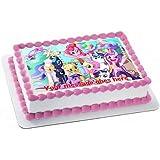 Decoración comestible para tarta con glaseado de fondant de My Little Pony y con tu felicitación