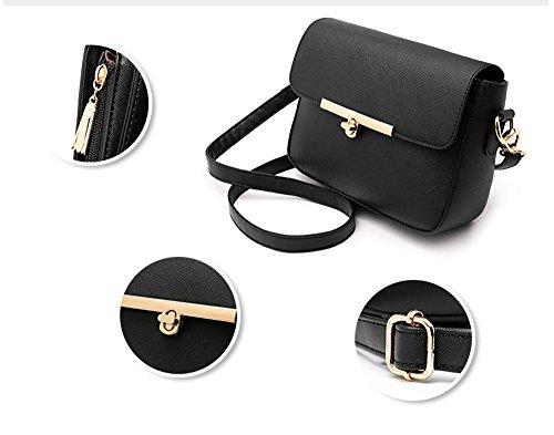 Versione coreana delle signore delle maree della signora, zaino obliquo della spalla, borse, piccolo mini sacchetto quadrato semplice di modo ( Colore : Nero ) Grigio