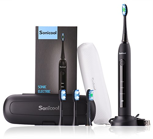 Sonic elektrische Zahnbürste Schallzahnbürste 4 Aufsteckbürsten, 2 Minuten Timer Aufladung Schallzahnbürste,3 modi & 3 Vibrationsstärken für Mundpflege mit Reisebox - Zahnbürste Jahr 1 Elektronische