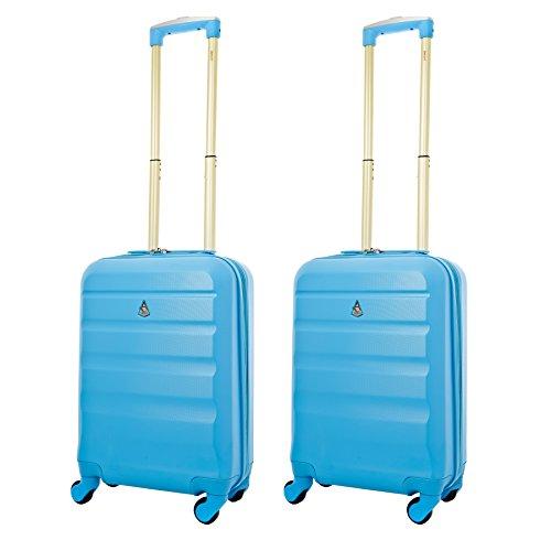 Aerolite Set de 2 ABS Bagage Cabine à Main Valise Rigide Léger 4 Roulettes (2 x d'or Bleu)