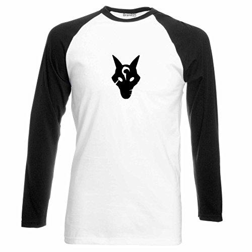 Brand88 - Wolf Mask, Langarm Baseball T-Shirt Weiss & Schwarz