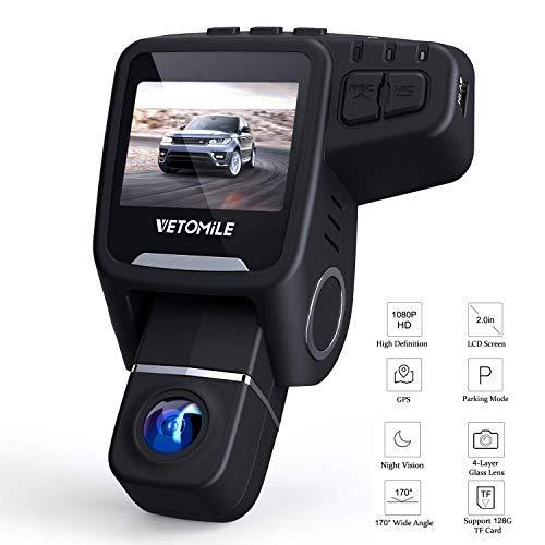vetomile Dashcam auto Full HD 1080P TELECAMERA AUTO REGISTRATORE 170° grandangolare obiettivo girevole a 360° con GPS & WiFi