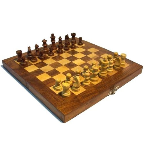 Schachspiel 31x31cm Holz Schachbrett Spielfiguren Brettspiel
