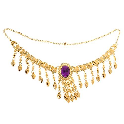 Generic Femme Strass Cristal Collier + Boucles D'oreilles + Bracelets Têtière Bijoux Mariée Costume Décor Fête Mariage Danse Violet