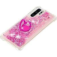 FAWUMAN Funda Huawei P30 Pro TPU Silicona Purpurina Carcasa,Funda para teléfono móvil de Arena movediza líquida en con Base de Anillo de Diamantes (Amor Rosa)