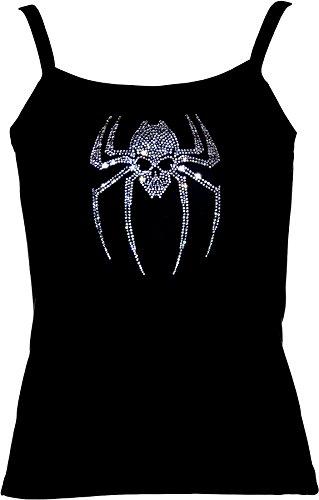elegantes Shirt für Damen Strass Skull Fun Shirt Spiderskull - Totenkopf-Spinne kristall Pink