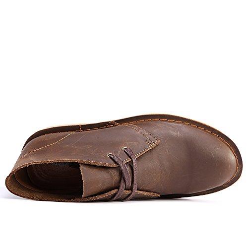 SERENE Mode Herren Wüste Arbeitsschuhe Low Top Arbeitsstiefel für Männer - Glattes Leder oder Wildleder Dunkelbraun