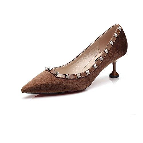La punta della versione coreana di alta scarpe tacco sottolineato scarpe con i tacchi alti ragazza bella con luce-a. Brown