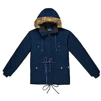 iLoveSIA Mens Winter Warm Parka Hooded With Trim Fur UK Size 4XL Deep Blue