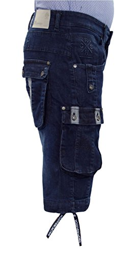 Neue Mens Designer Crosshatch Stretch Combat Pocket Denim Bermuda Shorts Jeans Dark Wash