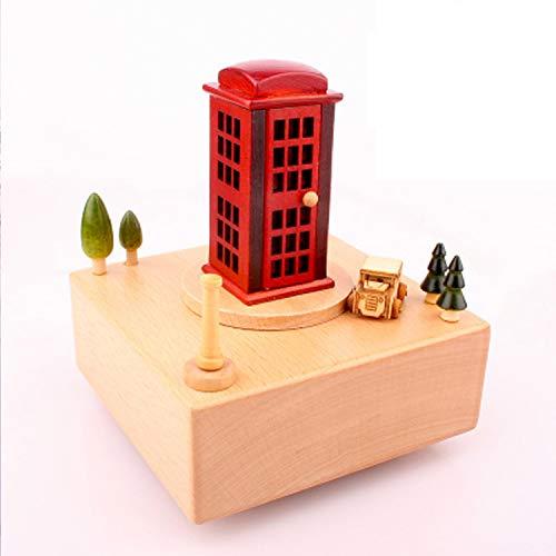 Ainim retro cabina di musica della cabina telefonica, scatola di legno di clockwork del treno di legno, giocattolo del regalo della decorazione domestica