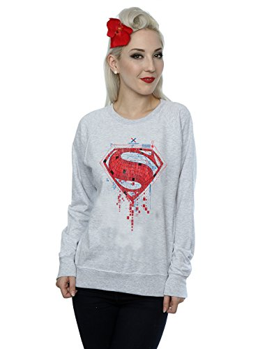 DC Comics Femme Batman v Superman Geo Logo Sweat-Shirt Sport Gris