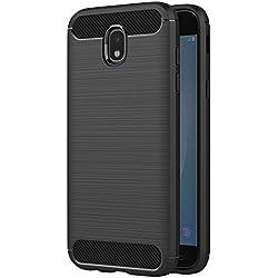 AICEK Coque Samsung Galaxy J7 2017, Noir Silicone Coque pour Samsung J7 2017 Housse Fibre de Carbone Etui Case (5,5 Pouces SM-J730F)