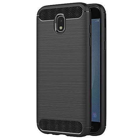 Coque Samsung Galaxy J5 2017, AICEK Noir Silicone Coque Pour Samsung J5 2017 Housse Fibre De Carbone Etui Case (5,2 Pouces SM-J530F)