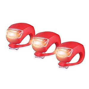 41diE0pUF9L. SS300 SamMoSon LED 3Pcs Silicone Bici Anteriore luci Posteriori Set Push Cycle Clip Light - 3PCS Bicicletta Luce Cinque…
