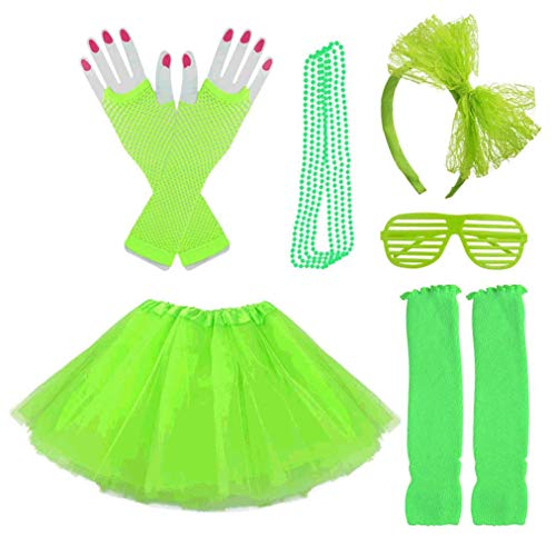 Lystaii 6 in 1 Kinder Mädchen der 1980er Jahre Kostüm Zubehör ausgefallene Outfits Kopfbedeckungen Rock Beinlinge Handschuhe Halskette Brille für Cosplay Thema Party Halloween Dressing Grün