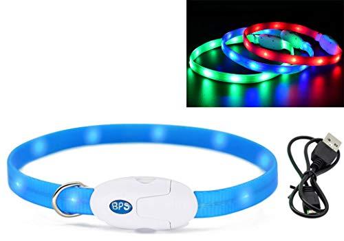 BPS Collier Lumineux Rechargeable USB pour Chiens Chats Imperméable Collier de Sécurité Lumière Brillante 3 Couleurs 2 Tailles au Choix