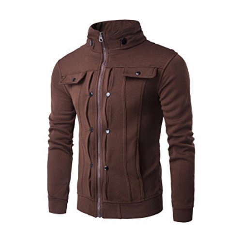 Men's Fashion Solid Slim Zipper Sweatshirts Café