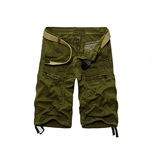 New Men Summer Loose Cargo Shorts Fashion Casual Solid Color Military Style Zipper Pocket Men Shorts Plus Size,ArmyGreen,34 -