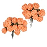 Colourful Hair Flowers Hair Accessories Set of 24 flowers (Orange)