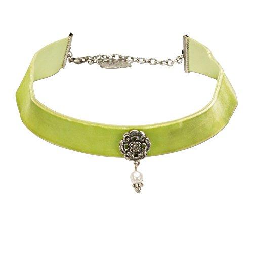 Alpenflüstern Trachten-Samt-Kropfband Frida mit Ornament und Perle - nostalgische Trachtenkette enganliegend, Kropfkette elastisch, Damen-Trachtenschmuck, Samtkropfband breit hell-grün DHK168