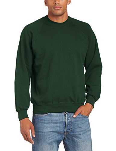 fruit-of-the-loom-sweat-shirt-col-ras-du-cou-manches-longues-homme-vert-vert-bouteille-xx-large