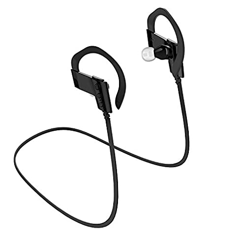 All Cart Wireless Bluetooth 4.1 Kopfhörer Errichtet in Mic, Sport Ohrhaken Headset, Sweatproof Stereo Ohrhörer (Schwarz)