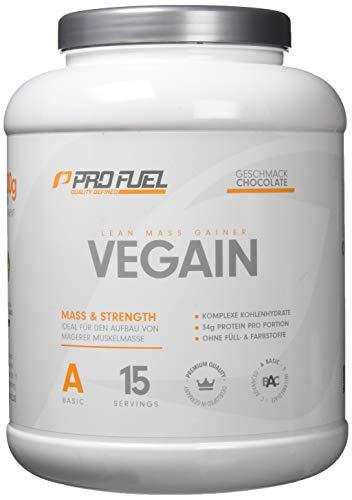 PROFUEL Vegain Lean Mass Gainer Schokolade - Weight Gainer! Mehr Muskelmasse durch eine Innovative Formel - OHNE Maltodextrin - VEGAN, 2000 g