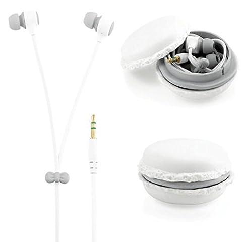Nette Stereo 3.5mm in Ohr Macaroon Ohrhörer Earbuds Headset mit Macaron Organizer Box Fall für iPhone Samsung MP3 iPod PC Musik weiß