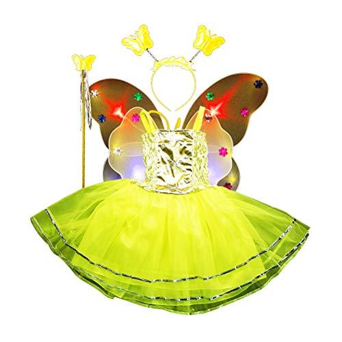 eKostüm Tutu Rock LEDPrinzessinSchmetterlingsflügelHaarreif ZauberstabKinderFlügel Feenstab PartyKostüm4-teiligesSet (Gelb) ()