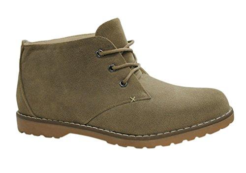 Scarpe polacchine uomo casual camoscio beige sabbia sneakers stivaletti scamosciati invernali numero 40 41 42 43 44 45 (42)