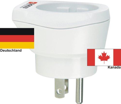 hochwertiger Design Reiseadapter Deutschland auf Kanada 220-230V Schukostecker Umwandlungsstecker Reisestecker Netzstecker - Germany - Canada