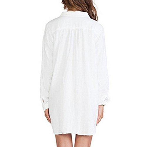 CRAVOG Sexy Damen Freizeit Langarm V-neck Bluse Hemdkleid überdimensional Hemd T-Shirt Weiß