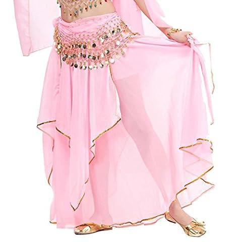 Wgwioo Chiffon Fairy Fancy Rock Bauchtanz Rock Für Frauen Mit Sequin Side Split . Pink . A