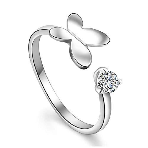 KFYU Weiblicher silberner Ring Ring Mall Schmetterling offener Ring weiblich