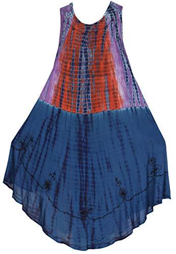 Herz Tie-dye-t-shirt (LA LEELA Kurze Strandkleid hawaiische tie dye gestickten Blumen Urlaub Frauen Casual Mini Blau_Y478 DE Größe: 42 (L) - 50 (3XL))