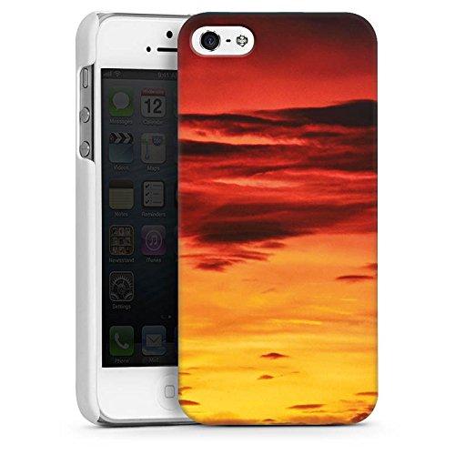 Apple iPhone 5s Housse Étui Protection Coque Soleil couchant Nuages Coucher de soleil CasDur blanc