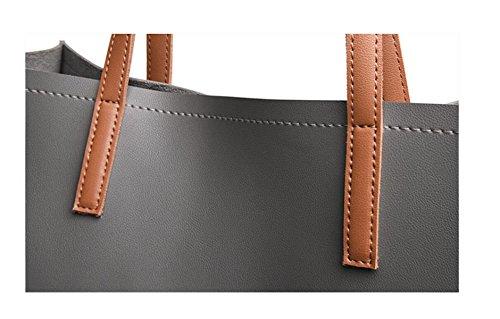 GSHGA Borsette Designer Per Donna Borse In Pelle Ladies Borse A Tracolla Borse Grande Tote Semplice Ed Elegante,Black Black