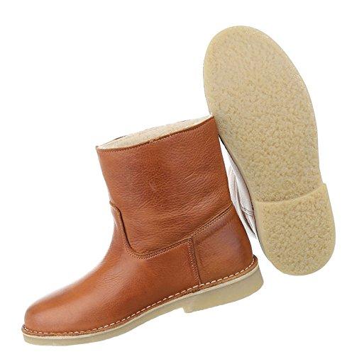 56b47b4e3fdf Damen Stiefeletten Schuhe Stiefel Used Optik Leder Boots Beige Braun 36 37  38 39 40 41 Camel