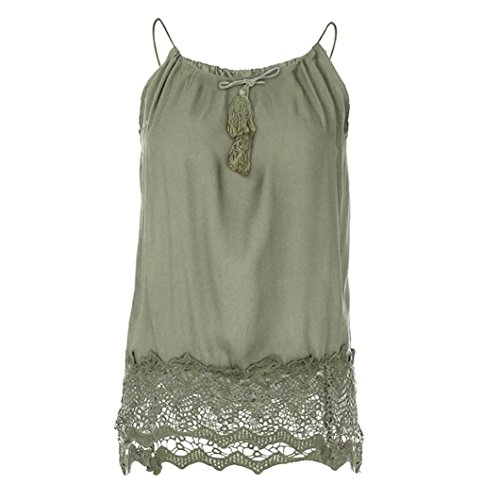 OSYARD Damen Spitze Patchwork Sleeveless Weste Tank Cami Bluse Pullover Tops Shirt(EU 50/L, Grün)
