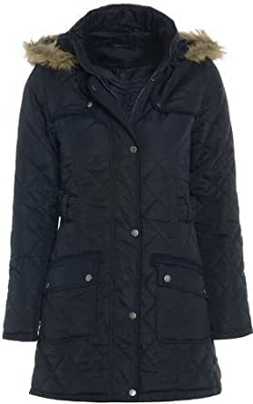 Quilted Womens Hooded Coat Sizes 8 - 16 (10)