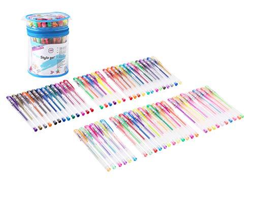 Exerz ART EXGL60 60 PEZZI penne gel a colori in secchio di PVC, penne a sfera punta fina, qualità superiore, colore vivace, grande scorrevolezza, comprende penne con glitter, neon, neon metallico, neon glitter, pastello, arcobaleno e classiche sfumature