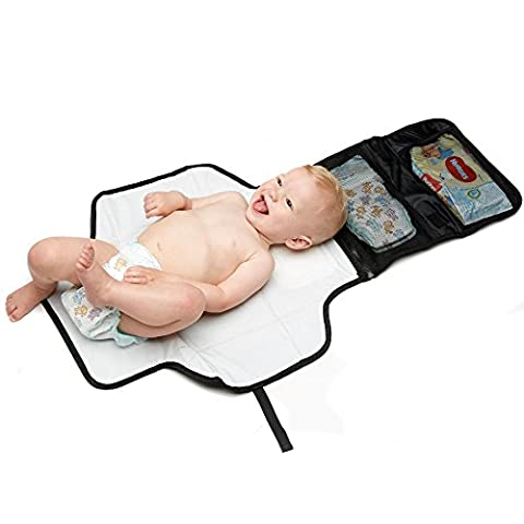 Travel Changing Mat by KID TRANSIT - Portable Nappy Mat to Change Your Baby On The Go | DON'T CHANGE YOUR BABY ON A DIRTY CHANGING TABLE | Includes storage for Nappies and