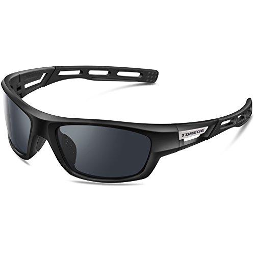 Torege Sport-Sonnenbrille polarisierte Sonnenbrille für Mann Frauen Radfahren Laufen Angeln Golf TR007, Black&Black&Gray Lens ...